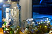 Marbles in Barilla Jars