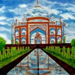 """Taj Mahal viewed on glass"" by sharmistha_datta"