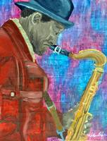 Black Hat Sax man