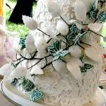 """White lace wedding cake"" by CakeQueen"