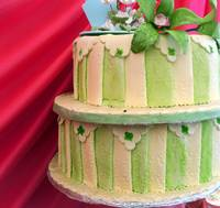 Red and green stripped wedding cake