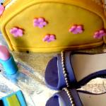 """Yellow purse, purple stiletto, pink lipstick cake"" by CakeQueen"