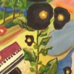 """""""Black Hollyhocks & Piano"""" by karenjlee"""