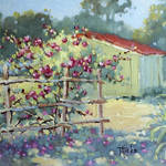 """Pink Climbers in Texas by Joyce Hicks"" by jhicksfineart"