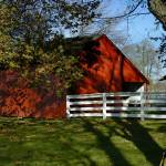 """""""Red Barn and White Horse Fence"""" by CooperSlay"""