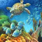 """Sea eScape III - Gemstone Hawksbill Turtle"" by nancytilles"