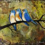 """Three Blue Birds Art Painting"" by BlendaStudio"