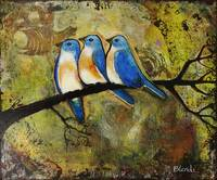 Three Blue Birds Art Painting