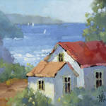 """Pacific View Cottage by Joyce Hicks"" by jhicksfineart"