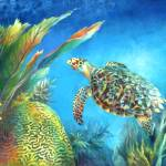 """Sea eScape IV - Hawksbill Turtle Flying Free"" by nancytilles"