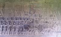 Angkor Wat Bas Relief Khmer Soldiers Off to War 1