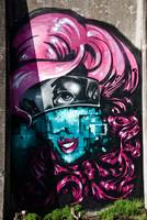 Pink and Blue Graffiti Lady.