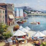 """Italian Harbor Scene"" by GalleryFinds"