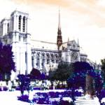 """Notre Dame in Purple"" by Svetlana-Bellon-de-Light"