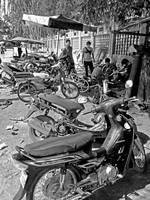 Cambodian Motorcycle Workshop BW