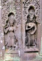Te Prohm Temple Wall Carvings Two Figures 2