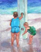 Big Sister helps Brother Shower at the Beach