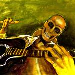 """wicked skeleton guitar player"" by americo"
