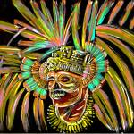 """aztec skull warrior painting"" by americo"