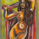 """female nude with red robe"" by americo"