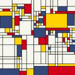 """World Map Abstract Mondrian Style"" by ModernArtPrints"