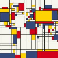 """World Map Abstract Mondrian Style"" by Michael Tompsett"