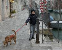 A boy and a dog in Venice