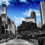 """Black and White Michigan Ave Chicago"" by bloomingvinedesign"