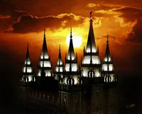 20x24 Salt Lake Temple Sunset Spires