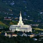 """20x24 Green Hills Bountiful Temple"" by lightvoyages"