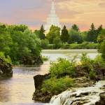 """20x24 Morning Waterfall Idaho Falls Temple"" by lightvoyages"