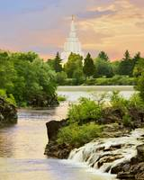 20x24 Morning Waterfall Idaho Falls Temple