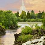 """20x30 Morning Waterfall Idaho Falls"" by lightvoyages"