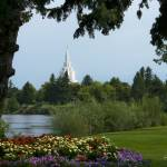 """20x24 From the Park Idaho Falls Temple"" by lightvoyages"