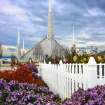 """20x30 Flower Garden Boise Temple"" by lightvoyages"