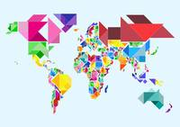 Tangram Abstract World Map