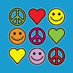"""RETRO PEACE SMILEYS HEARTS"" by icreate"
