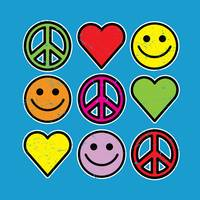 RETRO PEACE SMILEYS HEARTS