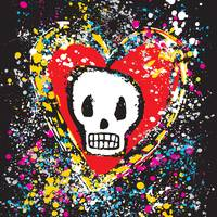 PAINTED SKULL HEART