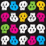 """RANDOM COLORFUL SKULLS"" by icreate"