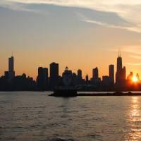 Chicago Skyline Sunset by Roger Dullinger