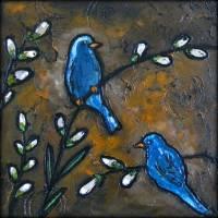 Mountain Bluebirds Art Prints & Posters by Karen Kearney
