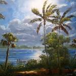 """Moonlit Tropics Painting"" by mazz"
