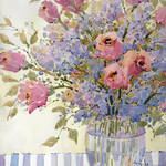 """Pink Roses and Lilacs"" by jhicksfineart"