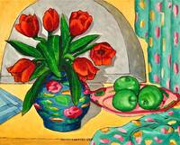 red tulips and apples