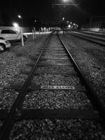 Streetcar Tracks on the River Levee by Night, New