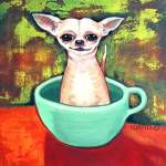 """Jadite Fireking Teacup Chihuahua - Funny Dog"" by RebeccaKorpita"