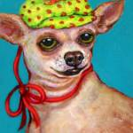 """Chihuahua with Polkadot Hat - Funny Dog"" by RebeccaKorpita"