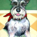 """Schnauzer with Red Ball - Cute Funny Dog"" by RebeccaKorpita"