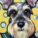 """Schnauzer with Polkadots - Funny dog"" by RebeccaKorpita"